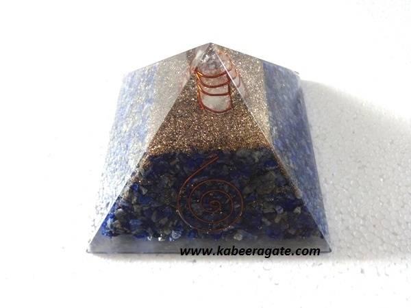 Lapiz Lazuli Orgone Pyramid with Quartz Point (Big)