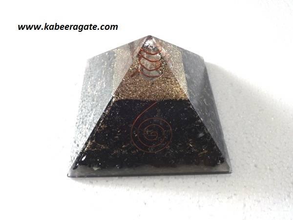 Black Tourmoline Orgone Pyramid with Quartz Point (Big)