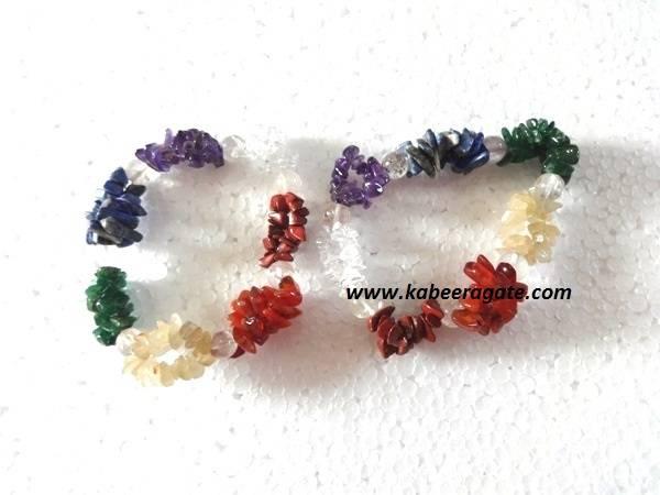 Chakra Chips bracelets with Crystal Beads