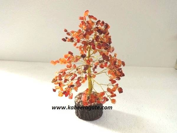 Red Carnelian Tree With Golden Metal Work