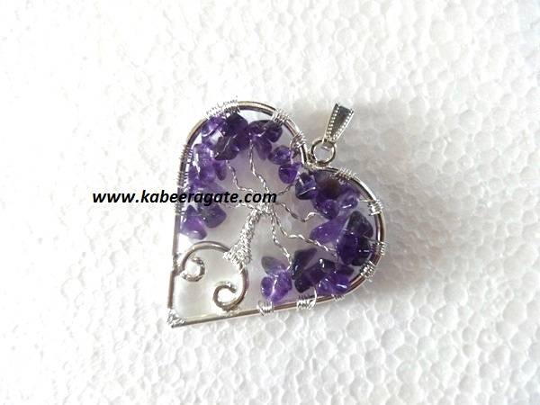 Amethyst Heart Shape Tree Of Pendants