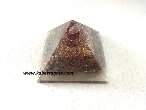 Tiger Eye Orgone Pyramids With Quartz Points