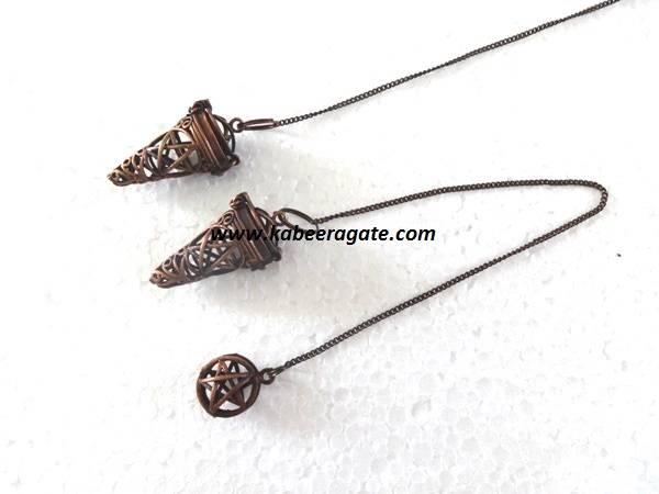 Pentagram Star Antique Copper Cage Pendulums
