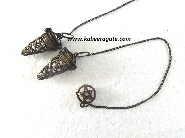 Pentagram Star Antique Brass Cage Pendulums