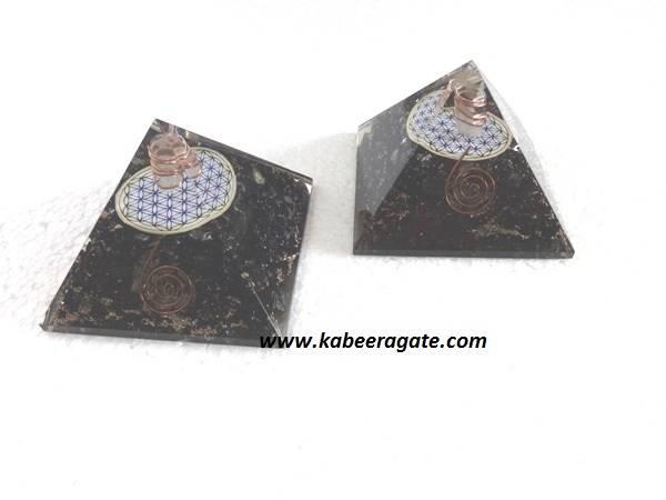Black Tourmaline Orgone Pyramids With Flower of Life