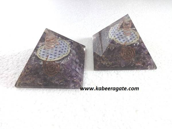 Amethyst Orgone Pyramids With Flower of Life