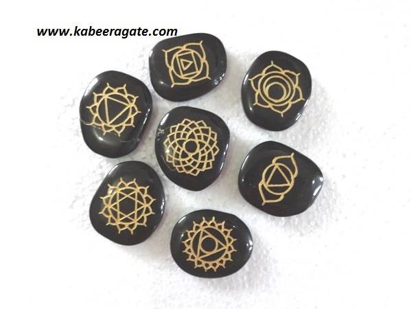 Engraved Black Agate Chakra Set