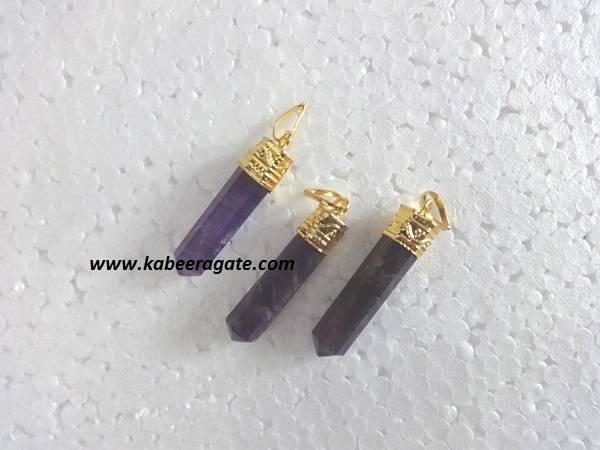 Amethyst Pencil Pendents (Golden)