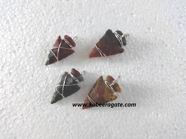 Agate Wire Wrap Arrowheads Pendents
