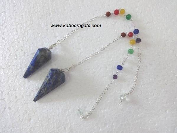 Lapis Lazuli Faceted Pendulums With Chakra Chain