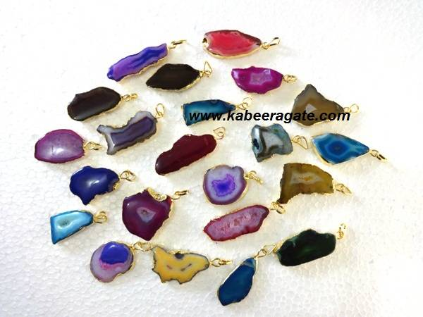 Assorted Gemstone Slice Pendent with Electroplating