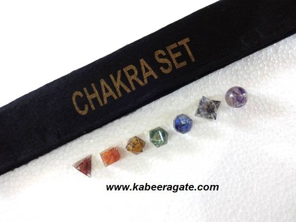 Seven Chakra Orgone Geometry Sets with Pouch