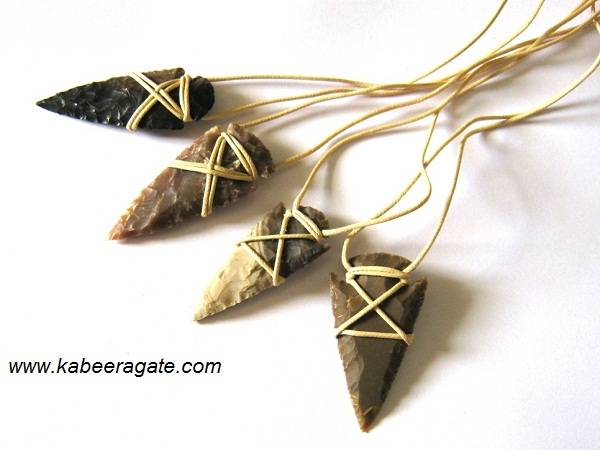 Arrowheads Necklaces with White Cord