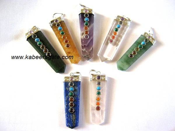 Mix Gemstone Chakra Flat Pendants